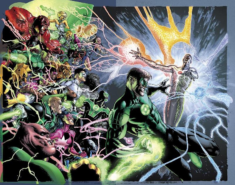"""The image provided by DC Entertainment shows the illustration for the cover of """"Green Lantern"""" No. 20, due out in May, which is the last issue written by Geoff Johns. He is leaving the book after nearly nine years of writing Green Lantern titles to focus on DC Entertainment's family of Justice League titles and Aquaman, too. (AP Photo/DC Entertainment)"""