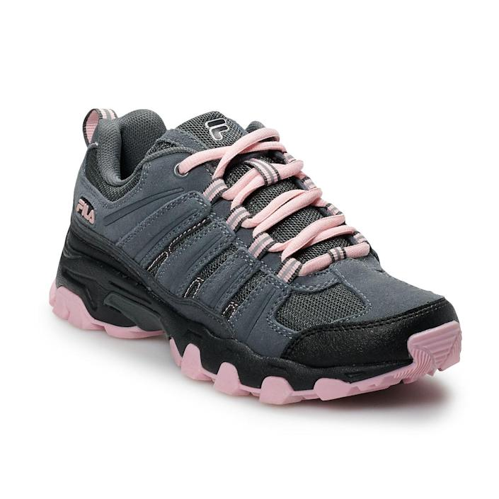 "<br> <br> <strong>Fila</strong> Day Hiker Running Shoe, $, available at <a href=""https://go.skimresources.com/?id=30283X879131&url=https%3A%2F%2Fwww.kohls.com%2Fproduct%2Fprd-3653822%2Ffila-day-hiker-womens-running-shoes.jsp%3Fskuid%3D75859979"" rel=""nofollow noopener"" target=""_blank"" data-ylk=""slk:Kohl's"" class=""link rapid-noclick-resp"">Kohl's</a>"