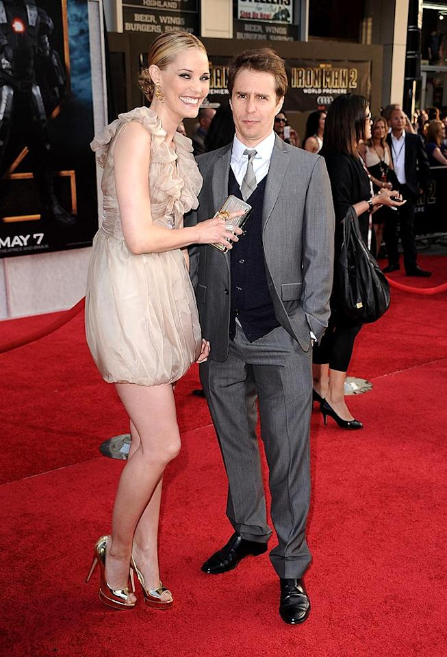 """Real-life couple Leslie Bibb and Sam Rockwell (who play Christine Everhart and Justin Hammer in the film) rocked the red carpet in Burberry. Steve Granitz/<a href=""""http://www.wireimage.com"""" target=""""new"""">WireImage.com</a> - April 26, 2010"""