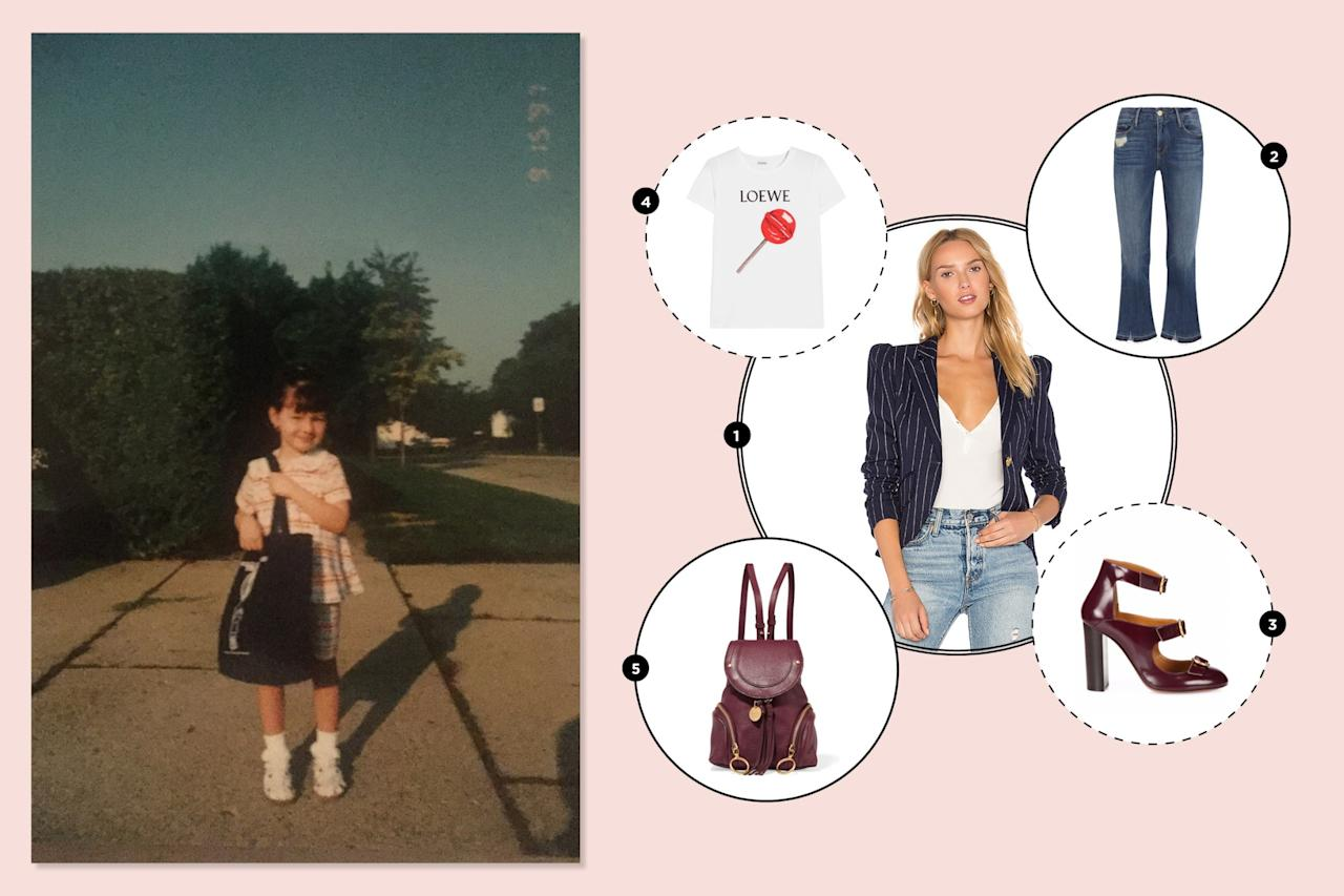 "<p>I wore a mix of offensive neon jean shorts and graphic T-shirts as a '90s kid. Luckily, I outgrew the neon and kept the good bits: a love for denim and cheeky tees. —<em>Alexandra Mondalek, Yahoo Style fashion features writer</em><br /><br /><a rel=""nofollow"" href=""https://www.net-a-porter.com/us/en/product/892120/frame/le-crop-mini-boot-distressed-mid-rise-flared-jeans""><span>Le Crop mini boot distressed mid-rise flared jeans, $245</span></a><br /><a rel=""nofollow"" href=""http://www.revolve.com/smythe/br/f2df94/?srcType=dp_des2""><span>Smythe pinstripe blazer</span></a><span>, </span><a rel=""nofollow"" href=""http://www.revolve.com/smythe-pouf-sleeve-one-button-blazer-in-navy-pinstripe/dp/SMYT-WO162/?d=F¤cy=USD&mkwid=%7Bifsearch:s%7D%7Bifcontent:c%7D_dc%7Cpcrid%7C114237047411%7Cpkw%7C%7Cpmt%7C&pdv=c&matchtype=&gclid=EAIaIQobChMIhL3O3OCz1QIVk1YNCh3BbQPFEAQYASABEgJKAfD_BwE""><span>$695</span></a><br /><a rel=""nofollow"" href=""http://www.saksfifthavenue.com/main/ProductDetail.jsp?FOLDER%3C%3Efolder_id=2534374306624262&PRODUCT%3C%3Eprd_id=845524447111361&R=3610928072750&P_name=Chlo%26%23233%3B&N=306624262&bmUID=lSi53sn"">Chloe Multi-Strap patent leather pumps, $880</a><br /><a rel=""nofollow"" href=""https://www.net-a-porter.com/us/en/product/914646/loewe/printed-stretch-cotton-jersey-t-shirt""><span>Loewe printed white T-shirt, $325</span></a><br /><br /><a rel=""nofollow"" href=""https://www.net-a-porter.com/us/en/product/892185/see_by_chloe/olga-small-textured-leather-backpack""><span>See by Chloe backpack, $425</span></a> </p>"