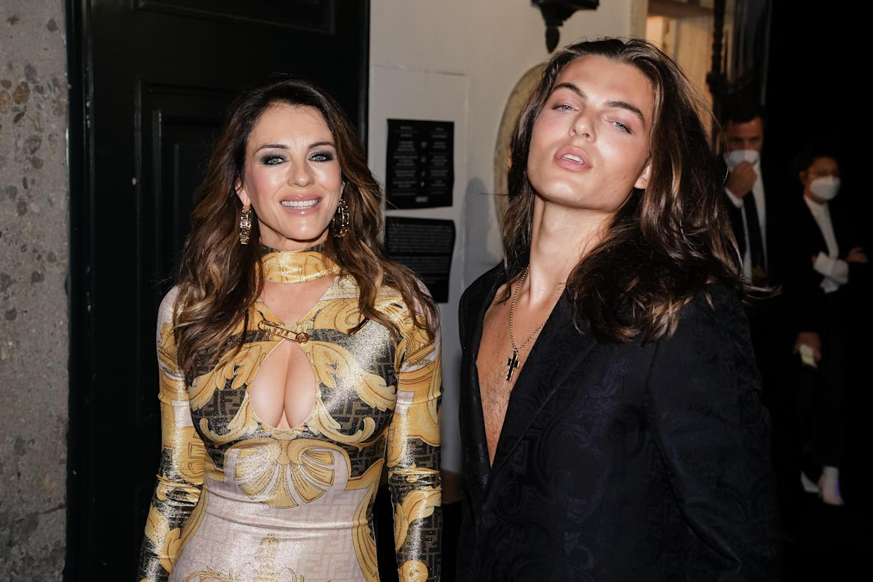 British actress Elizabeth Hurley with her son Damian Charles Hurley guests at the party organized for the launch of the Fendace collection created by the collaboration between the fashion houses Fendi and Versace. Milan (Italy), September 26th, 2021 (Photo by Marco Piraccini/Mondadori Portfolio/Sipa USA)