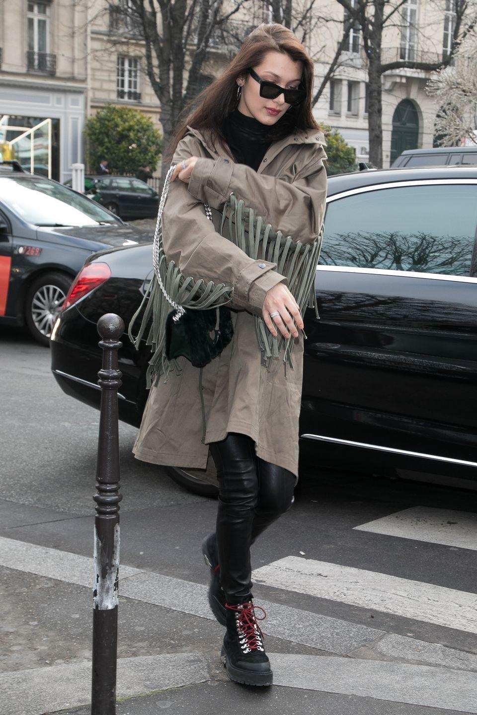 <p>Bella was spotted wearing a nude coloured jacket and leather trousers while out in Paris, January 2017</p>