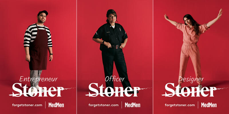 three different people with the word Stoner crossed out and their real job titles underneath.