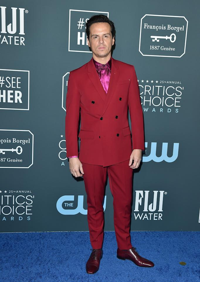 <p>WHAT: Berluti with Christian Louboutin shoes</p> <p>WHERE: The Critics' Choice Awards</p> <p>WHEN: January 12, 2020</p> <p>WHY: The hot-pink metallic shirt is just the icing on the cake here.</p>