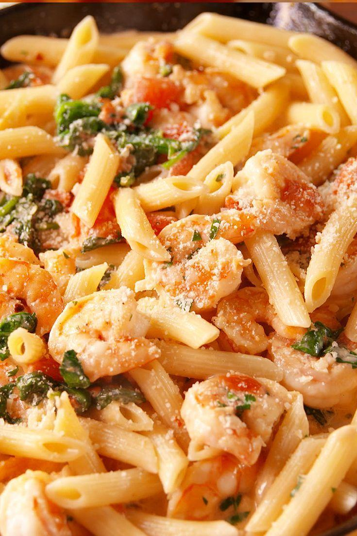 "<p>Shrimp, spinach, tomatoes, garlic? Yes, this is the pasta of your dreams.</p><p>Get the recipe from <a href=""https://www.delish.com/cooking/recipe-ideas/recipes/a50034/tuscan-shrimp-penne-recipe/"" rel=""nofollow noopener"" target=""_blank"" data-ylk=""slk:Delish"" class=""link rapid-noclick-resp"">Delish</a>.</p>"