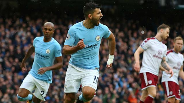 Sergio Aguero moved level with Manchester City's all-time top scorer Eric Brook against Burnley but his penalty irritated Sean Dyche.