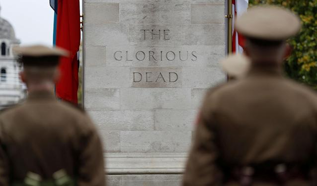 <p>Members of the Western Front Association stand at the Cenotaph in a service to remember servicemen and women killed conflict, in London, Britain, Nov. 11, 2017. (Photo: Peter Nicholls/Reuters) </p>