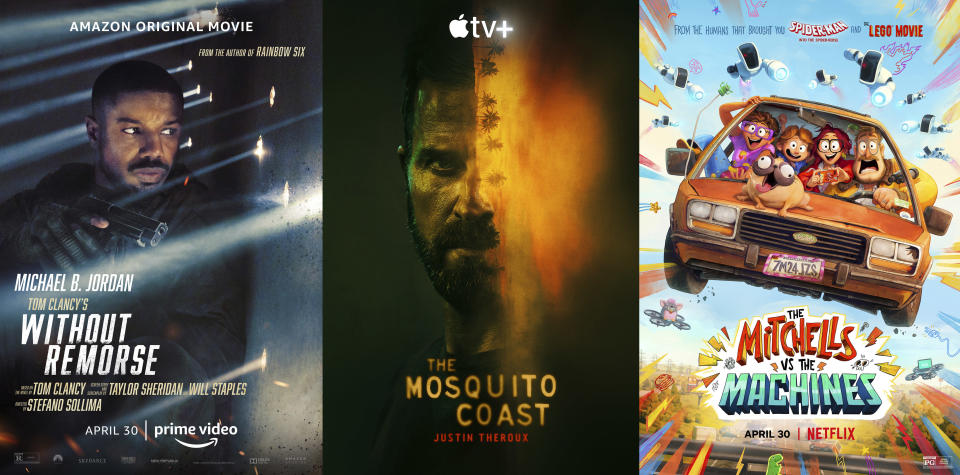 """This combination of photos shows promotional art for, from left, """"Tom Clancy's Without Remorse,"""" a film premiering Friday on Amazon Prime, """"The Mosquito Coast,"""" a series premiering Friday on Apple TV Plus, and """"The Mitchells vs the Machines,"""" a film premiering Friday on Netflix. (Amazon/Apple TV+/Netflix via AP)"""