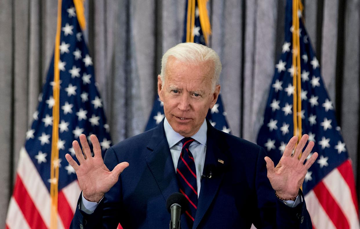 Former Vice President Joe Biden, a 2020 Democratic presidential hopeful, speaks during a town hall meeting with a group of educators from the American Federation of Teachers on May 28 in Houston. (Photo: ASSOCIATED PRESS/Brett Coomer)