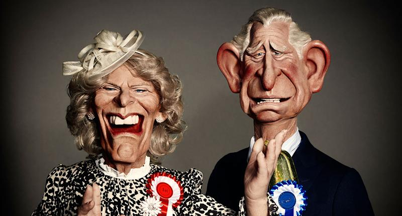 Camilla and Charles will be lampooned on Britbox's new Spitting Image. (ITV)