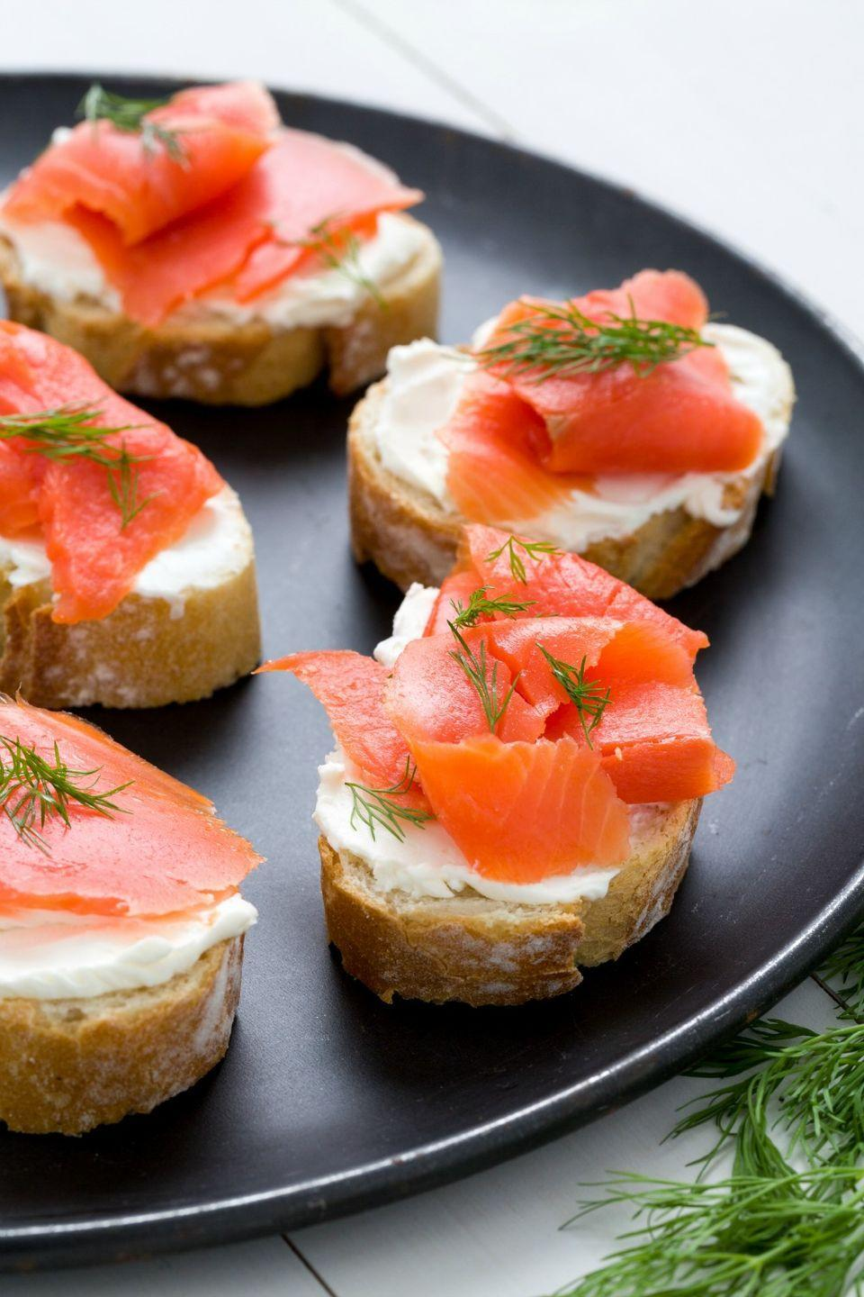 <p>Top toasted or fresh baguette slices with cream cheese, thinly sliced smoked salmon, and fresh dill for everything you love about a bagel with lox.</p>