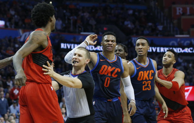 The Blazers and Thunder exchanged a few heated shoves Sunday. (AP Photo)