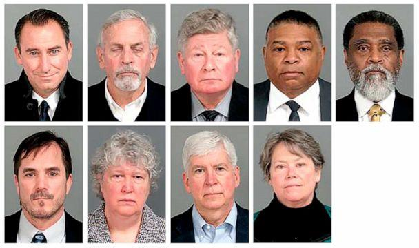 PHOTO: This combo of images provided by the Genesee County, Mich., Sheriff's Office, shows the nine former state-appointed and local officials charged Jan. 14, 2021, in connection with the Flint, Mich., water crisis. (Genesee County Sheriff's Office via AP)