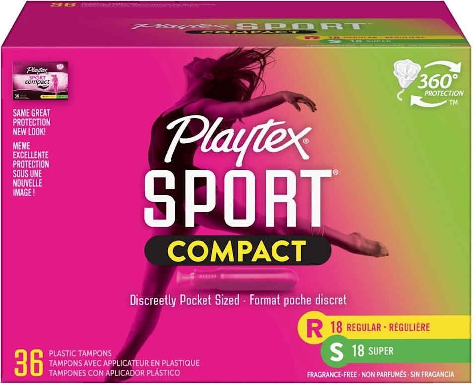 <p>I find the <span>Playtex Sport Compact Athletic tampons</span> ($12) to be incredibly comfortable and reliable. They feature a helpful finger grip on the compact applicator, and the brand says they are 30 percent smaller than a full-size tampon prior to sliding out the applicator.</p>