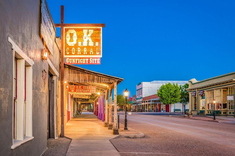 """<p>Known for its Wild West history, Tombstone has a dark, storied past, and this 90-minute adventure will teach you all about the city's murderers, ghosts, and demonic entities with plenty of stops along the way. </p><p><a class=""""link rapid-noclick-resp"""" href=""""https://go.redirectingat.com?id=74968X1596630&url=https%3A%2F%2Fwww.tripadvisor.com%2FAttractionProductReview-g31381-d22974794-The_Bullets_and_Bordellos_Ghost_Tour_in_Tombstone-Tombstone_Arizona.html&sref=https%3A%2F%2Fwww.redbookmag.com%2Flife%2Fg37623207%2Fghost-tours-near-me%2F"""" rel=""""nofollow noopener"""" target=""""_blank"""" data-ylk=""""slk:LEARN MORE"""">LEARN MORE</a></p>"""