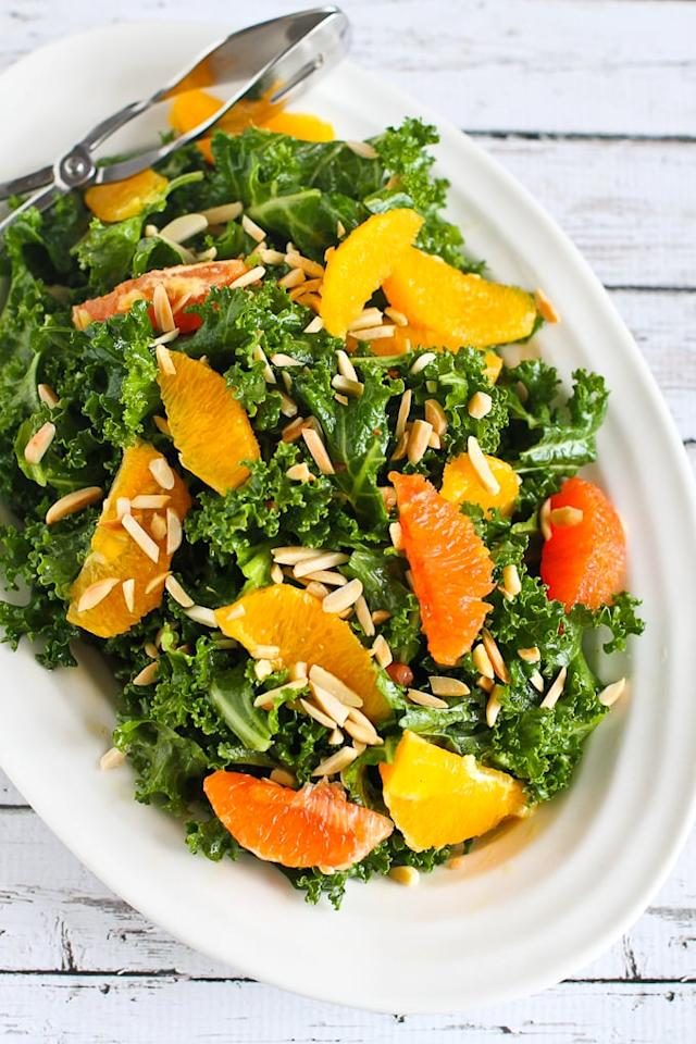 """<p>We can't stop staring at this gorgeous salad, and with sweet and tangy oranges and dressing plus crunchy almonds and fresh kale, it's bound to taste as good as it looks. Prep the salad beforehand, store it in the fridge, and fold in the oranges and dressing just before serving.</p> <p><strong>Get the recipe:</strong> <a href=""""http://www.cookincanuck.com/2016/03/kale-almond-orange-salad-recipe/"""" target=""""_blank"""" class=""""ga-track"""" data-ga-category=""""Related"""" data-ga-label=""""http://www.cookincanuck.com/2016/03/kale-almond-orange-salad-recipe/"""" data-ga-action=""""In-Line Links"""">kale, toasted almond, and orange salad</a></p>"""