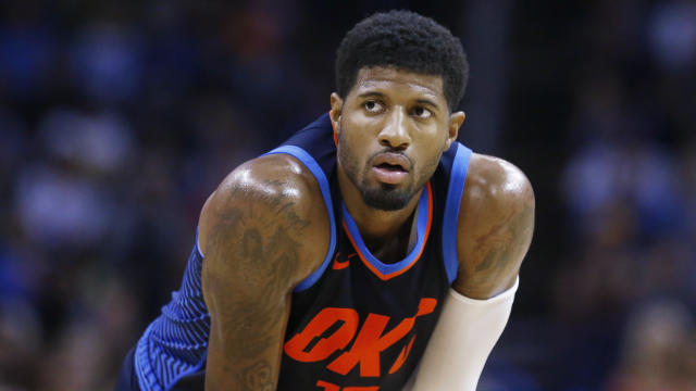 Oklahoma City Thunder forward Paul George started the season with a nerve injury in his foot. (AP Photo/Sue Ogrocki)