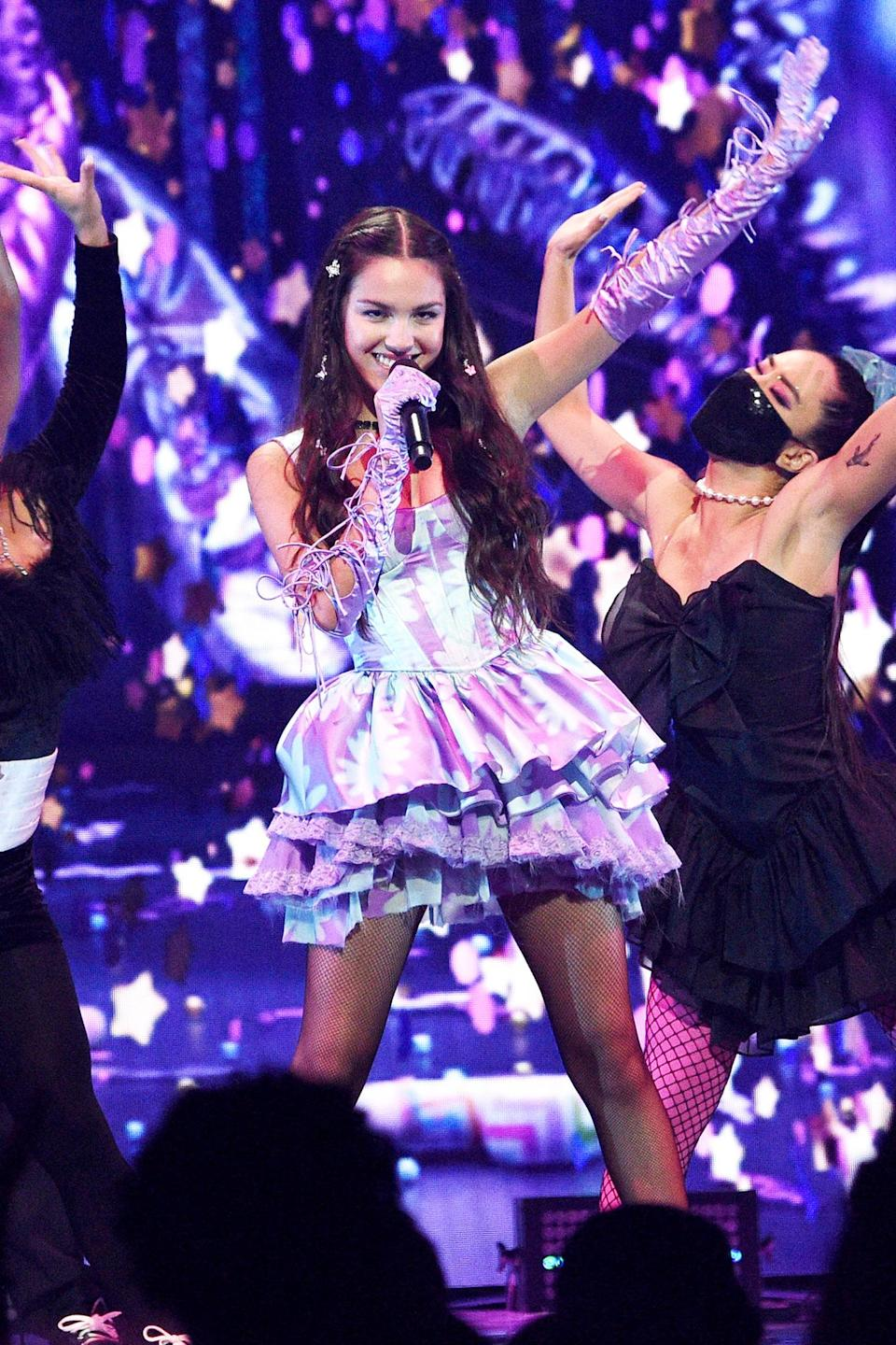 <p>Olivia Rodrigo performs at the 2021 MTV Video Music Awards at Barclays Center on Sept. 12 in Brooklyn, New York.</p>