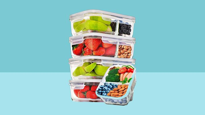 Prep Naturals Glass Meal Prep Containers Glass 2 Compartment 5 Pack: best storage containers