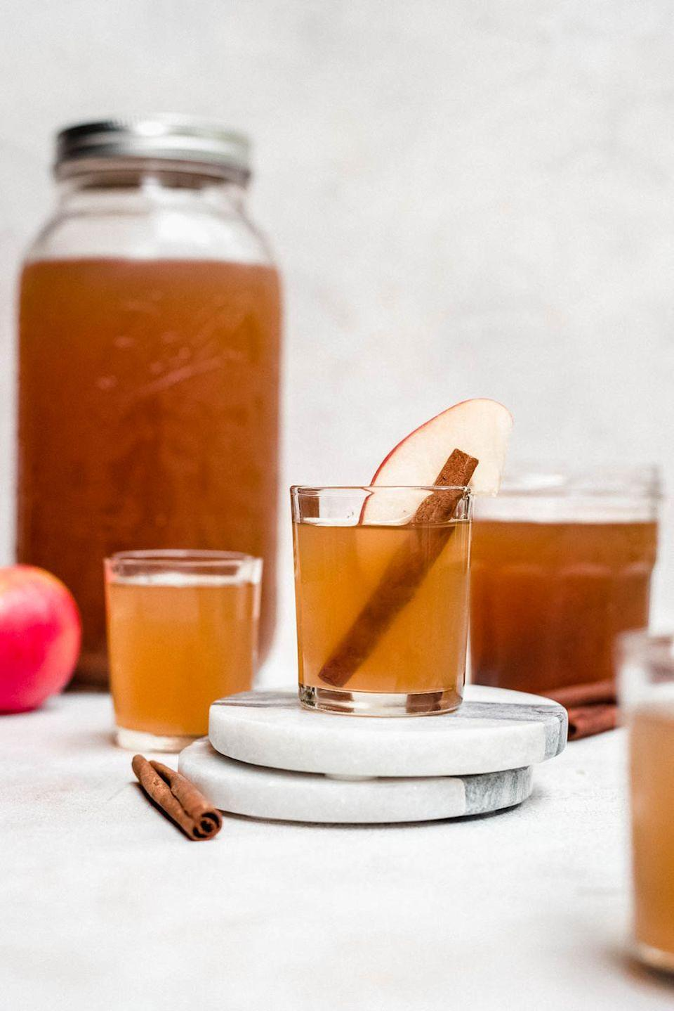 """<p>Wow your friends this fall by making your own moonshine. This apple pie recipe tastes just like the real thing!</p><p><strong>Get the recipe at <a href=""""https://cookienameddesire.com/apple-pie-moonshine/"""" rel=""""nofollow noopener"""" target=""""_blank"""" data-ylk=""""slk:A Cookie Named Desire"""" class=""""link rapid-noclick-resp"""">A Cookie Named Desire</a>.</strong></p><p><strong><a class=""""link rapid-noclick-resp"""" href=""""https://go.redirectingat.com?id=74968X1596630&url=https%3A%2F%2Fwww.walmart.com%2Fsearch%2F%3Fquery%3Dmason%2Bjars&sref=https%3A%2F%2Fwww.thepioneerwoman.com%2Ffood-cooking%2Fmeals-menus%2Fg33510531%2Ffall-cocktail-recipes%2F"""" rel=""""nofollow noopener"""" target=""""_blank"""" data-ylk=""""slk:SHOP MASON JARS"""">SHOP MASON JARS</a><br></strong></p>"""