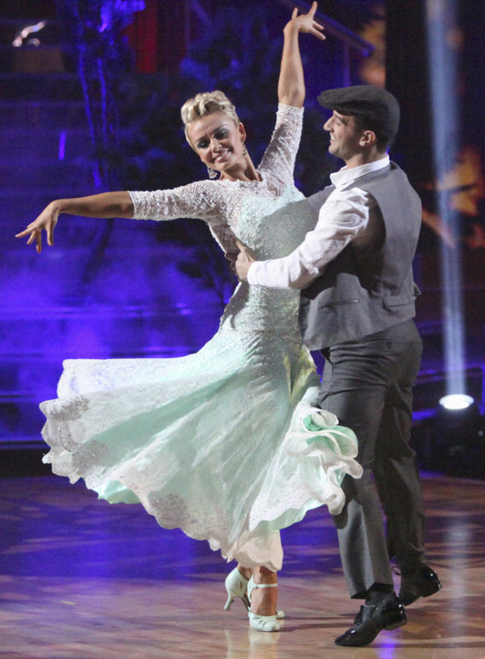 "Katherine Jenkins and Mark Ballas perform on ""Dancing with the Stars."""