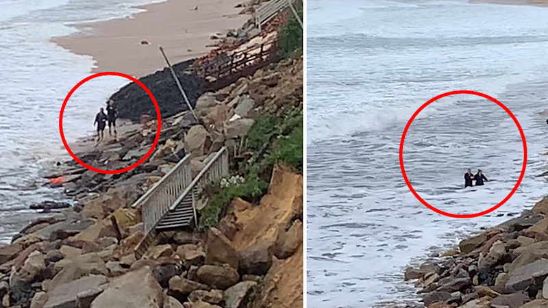 Split screen. Distant shots. Left - Paul McCloskey and his daughter walk along the beach. Right - The pair are swamped by water