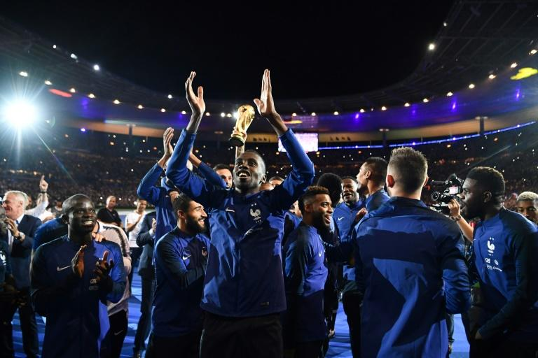 The France players performed a victory parade to celebrate their World Cup triumph after beating the Netherlands