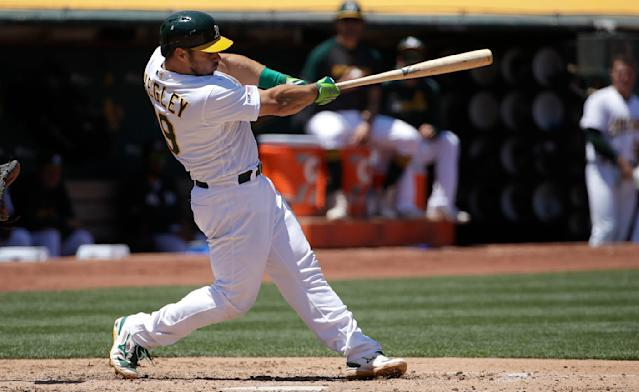 Oakland Athletics' Josh Phegley hits a three-run home run against the Baltimore Orioles during the fifth inning of a baseball game in Oakland, Calif., Wednesday, June 19, 2019. (AP Photo/Jeff Chiu)