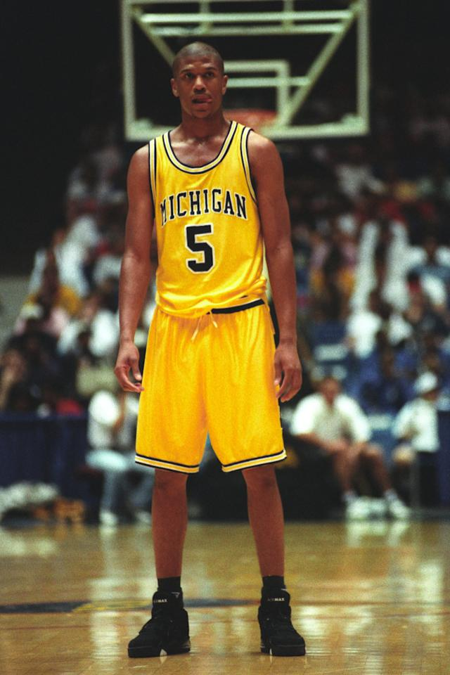 Jalen Rose of the Michigan Wolverines looks on during a NCAA second round basketball game at the McKale Center on March 21, 1993 in Tuscon, Arizona.