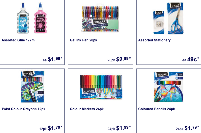 Stationery for school kids on sale as Special Buys at Aldi.