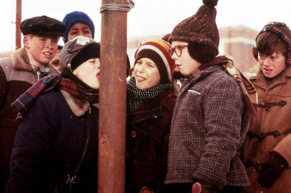 The flagpole scene in <em>A Christmas Story</em>. (Photo: MGM/Everett Collection)