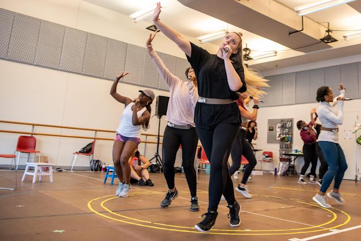 A rehearsal of Six, a musical that was shut down on what was supposed to be opening night on March 12, 2020 due to the COVID-19 pandemic. The musical is set to open later this month with an official Broadway opening on October 03, 2021. Actors work on their choreography during rehearsal. (From left) Brittney Mack, Adrianna Hicks, Abby Mueller, Keirsten Hodgens and Anna Uzele. Photographed at New 42nd Street Studios in New York City, NY on Tuesday September 07, 2021.