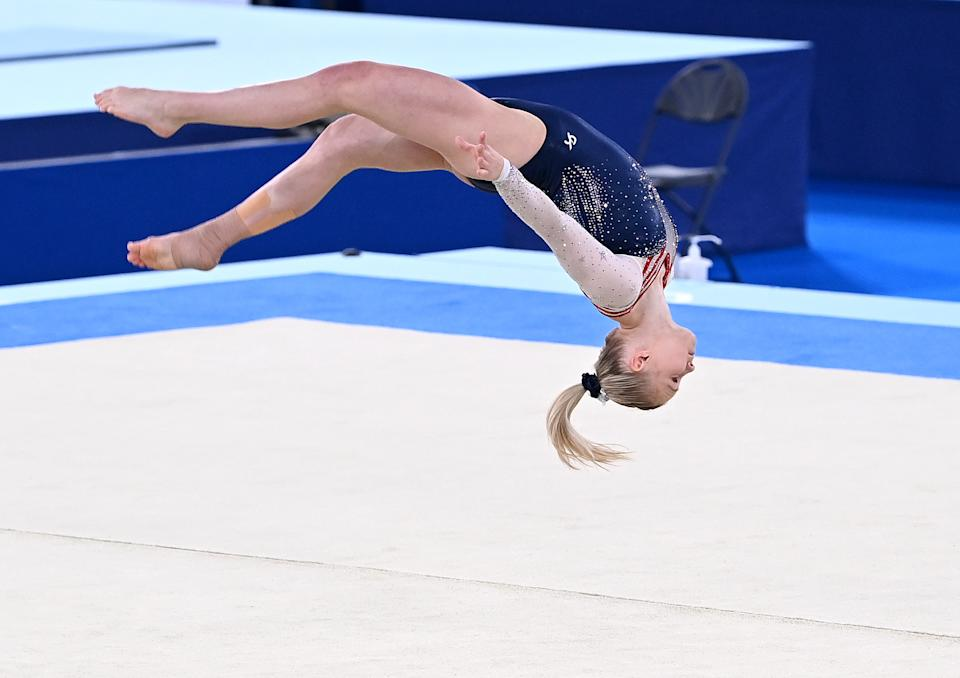 <p>TOKYO, JAPAN - AUGUST 02: Jade Carey of the USA competes at the Women's Floor Exercise Final at the Gymnastics on day ten of the Tokyo 2020 Olympic Games at Ariake Gymnastics Centre on August 02, 2021 in Tokyo, Japan. (Photo by Bradley Kanaris/Getty Images)</p>