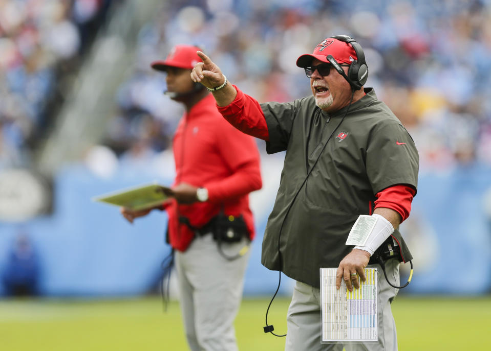 NASHVILLE, TENNESSEE - OCTOBER 27: Head coach Bruce Arians of the Tampa Bay Buccaneers yells to his players during the first quarter of the game against the Tennessee Titans at Nissan Stadium on October 27, 2019 in Nashville, Tennessee. (Photo by Silas Walker/Getty Images)