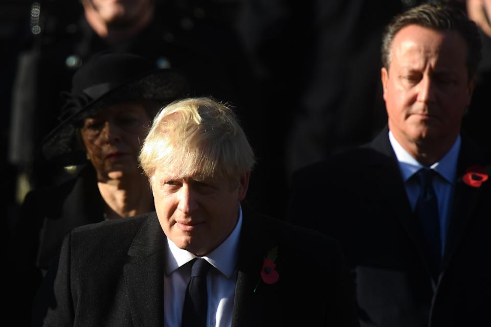 Prime Minister Boris Johnson and former prime minister David Cameron during the Remembrance Sunday service at the Cenotaph memorial in Whitehall, central London.