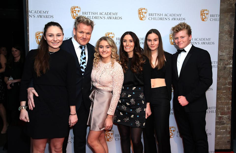 Gordon Ramsay (second left) Tana Ramsay (third right) and children arrive at the British Academy Children's Awards, at the Roundhouse in Camden, north London. (Photo by Jonathan Brady/PA Images via Getty Images)