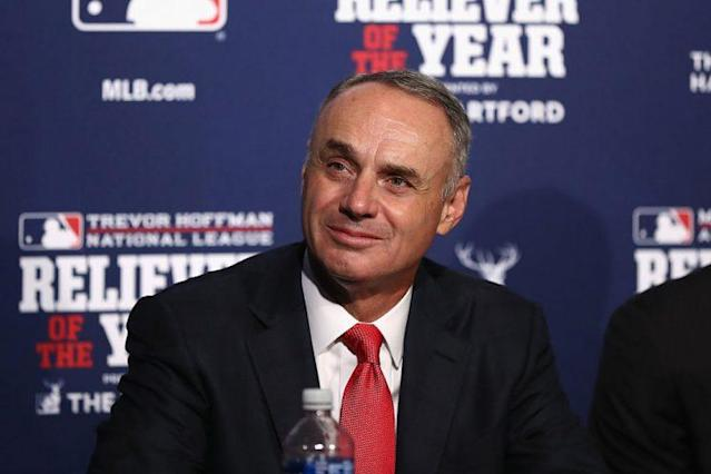 MLB Commissioner Rob Manfred on October 29, possibly thinking about diversity, but most likely thinking about the Reliever of the Year awards, which he was giving out. (Getty Images)