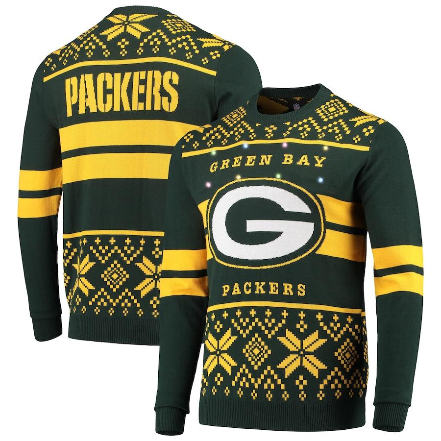 Men's Green Bay Packers Green/Gold Light Up Ugly Sweater