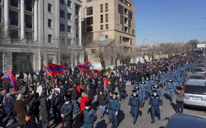 Opposition supporters hold a rally in Yerevan