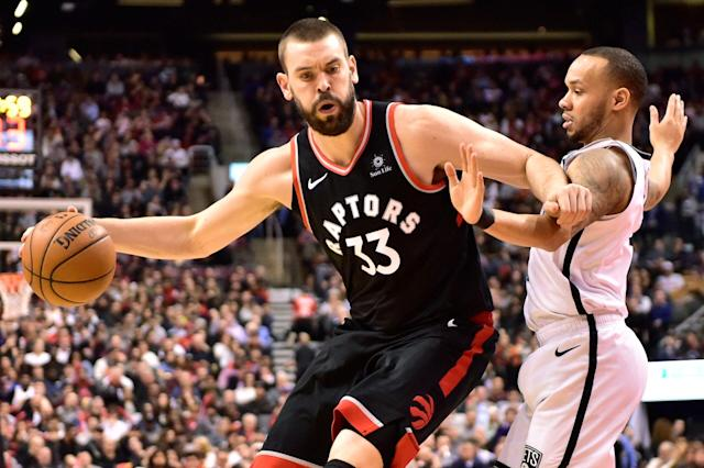 Marc Gasol is performing for his new team — but he's still strapped for minutes. (Frank Gunn/The Canadian Press via AP)