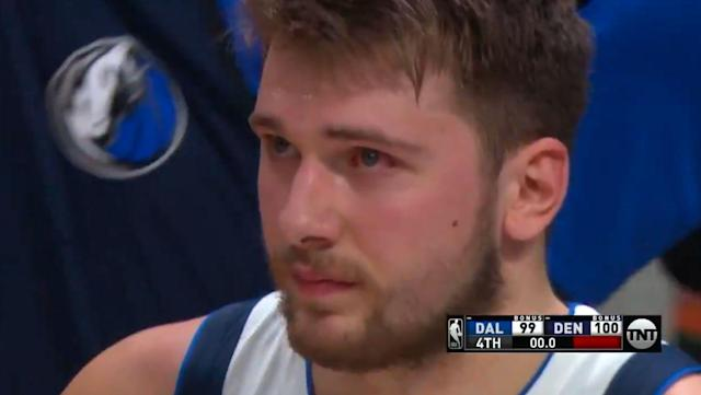 Luka Doncic is not happy after Nikola Jokić's buzzer-beater cancels out his dunk and wins the game for the Nuggets. (Screenshot)