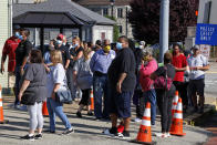 Voters in the Pennsylvania primary wait to vote outside the McKeesport Public Safety Building in McKeesport, Pa., Tuesday, June 2, 2020. (AP Photo/Gene J. Puskar)