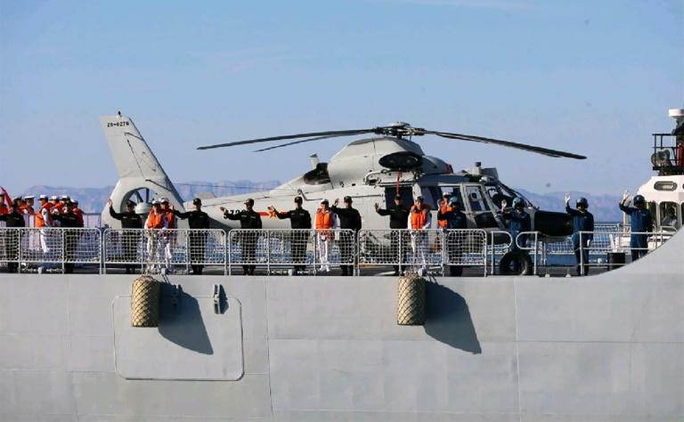 Russian navy vessels and helicopters also took part in the exercise (AFP Photo/-)