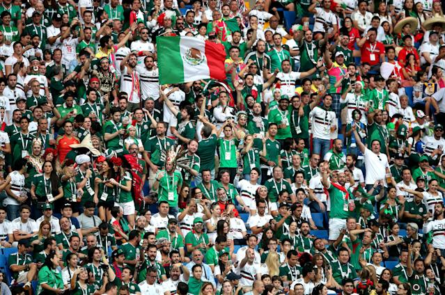 Mexico fans celebrated a World Cup win over South Korea without their offensive homophobic chant. (Getty)