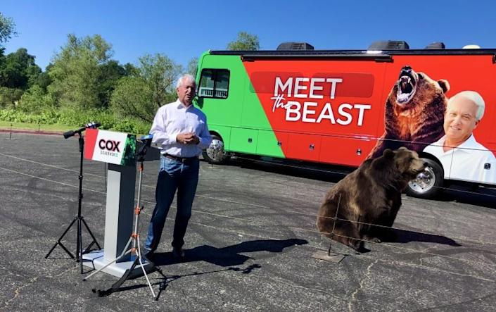 """Republican gubernatorial candidate John Cox on Tuesday launched his """"Beauty or the Beast"""" campaign tour in Sacramento"""