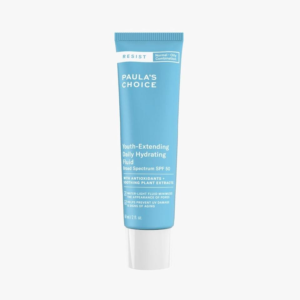 """Despite its fluid, satin-matte texture, Paula's Choice Youth-Extending Daily Hydrating Fluid offers broad-spectrum SPF 50 protection and an array of antioxidants and soothing plant extracts, such as green tea and oat extract, to treat signs of aging while shielding from rays. $33, PAULA'S CHOICE. <a href=""""https://shop-links.co/1736290771940587747"""" rel=""""nofollow noopener"""" target=""""_blank"""" data-ylk=""""slk:Get it now!"""" class=""""link rapid-noclick-resp"""">Get it now!</a>"""