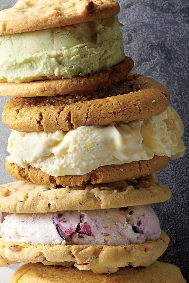 """<p><strong>Recipe: <a rel=""""nofollow"""" href=""""http://www.myrecipes.com/recipe/lemon-meringue-ice-cream"""">Lemon Meringue Ice Cream</a></strong></p> <p>Cool off with this creamy, citrusy treat. Sandwich Lemon Meringue Ice Cream between two peanut butter cookies for the most delicious ice cream sandwich you've ever tasted.</p>"""