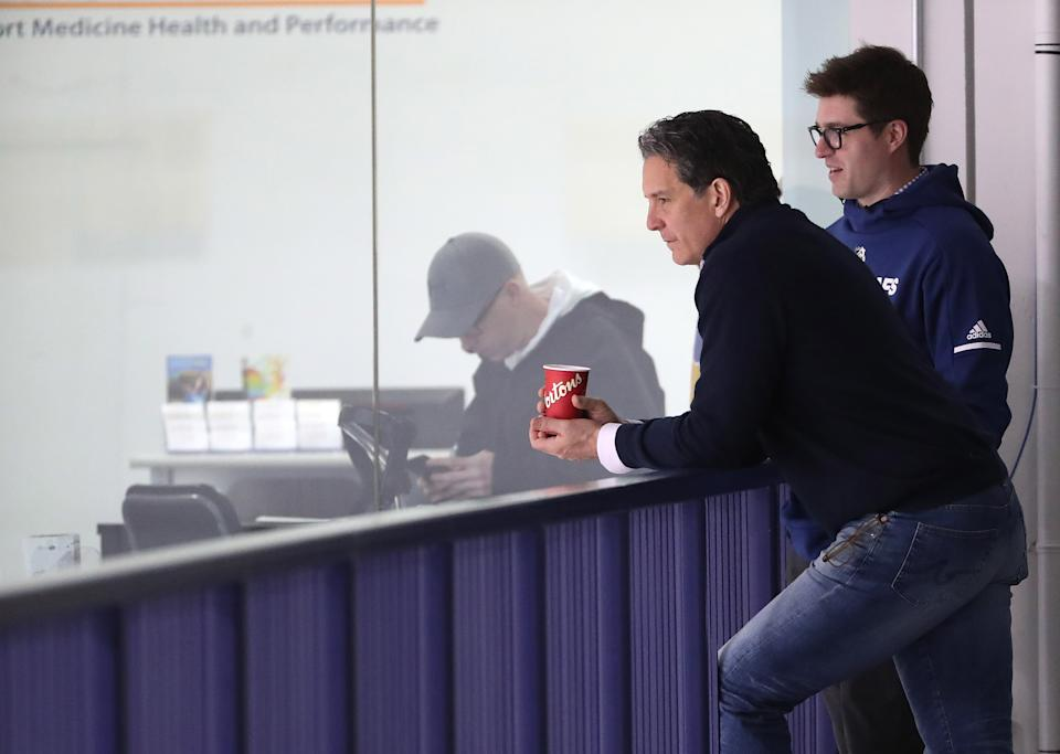 TORONTO, ON- APRIL 16  -  Brendan Shanahan and Kyle Dubas chat was they watch the Toronto Maple Leafs practice before game four against the Boston Bruins in their first round play-off series  in Toronto. April 16, 2019.        (Steve Russell/Toronto Star via Getty Images)
