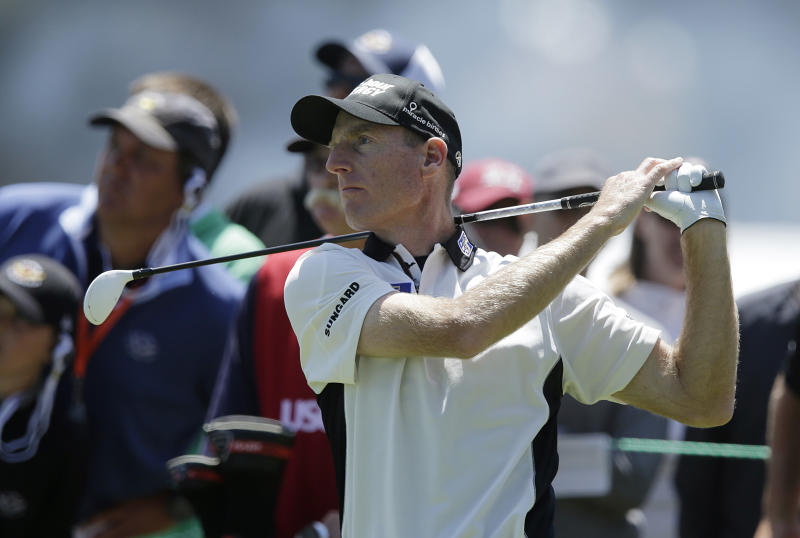 Jim Furyk hits a drive on the fourth hole during the second round of the U.S. Open Championship golf tournament Friday, June 15, 2012, at The Olympic Club in San Francisco. (AP Photo/Charlie Riedel)