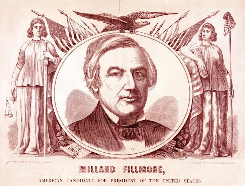 A banner for the American party's 1856 presidential candidate, Millard Fillmore.